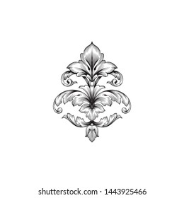 Baroque ornament with filigree in vector format for design frame, pattern. Vintage hand drawn victorian or damask floral element. Black and white engraved ink art. Template for foil quill.