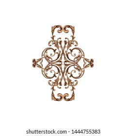 Baroque ornament with filigree in vector format for design frame, pattern. Vintage hand drawn victorian or damask floral element. Black and white engraved ink art. Template for wedding invitation.