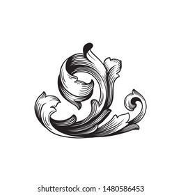 Baroque ornament with filigree in vector format for design frame, pattern. Vintage hand drawn victorian or damask floral element. Black and white engraved ink art.