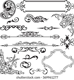Baroque ornate set is isolated on white