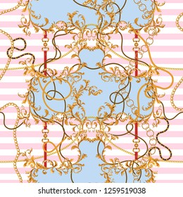 Baroque patch with golden chains and belts. Seamless pattern for scarfs, print, fabric.