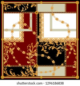 Baroque patch with golden chains. Vector pattern for scarf.