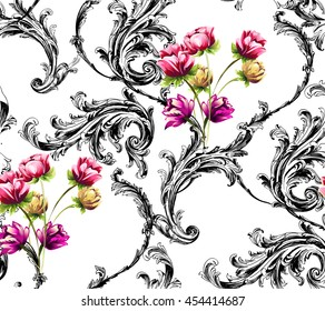 Baroque pattern with scrolls and bouquet of tulip flowers