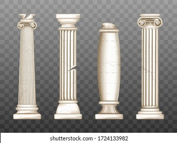 Baroque pillars, roman renaissance columns with cracks. Ancient classic ivory marble, stone greece classic architecture, antique interior colonnade facade design, Realistic 3d vector obelisks set