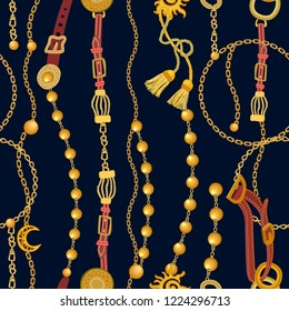Baroque print with chains, beads, straps and brushes. Seamless vector pattern with jewelry elements. Women's fashon collection. On black background.