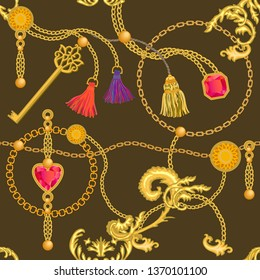 Baroque print with chains, rubins and keys. Seamless vector pattern with trendy accessories. Women's fashon collection. On brown background.