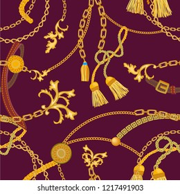 Baroque print with chains, straps and brushes. Seamless vector pattern with jewelry elements. Women's fashon collection. On brown background.