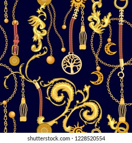 Baroque print with scrolls, chains, straps and brushes. Seamless vector pattern with jewelry elements. Women's fashon collection. On black background.