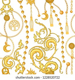 Baroque print with scrolls, chains, straps and brushes. Seamless vector pattern with jewelry elements. Women's fashon collection. On white background.