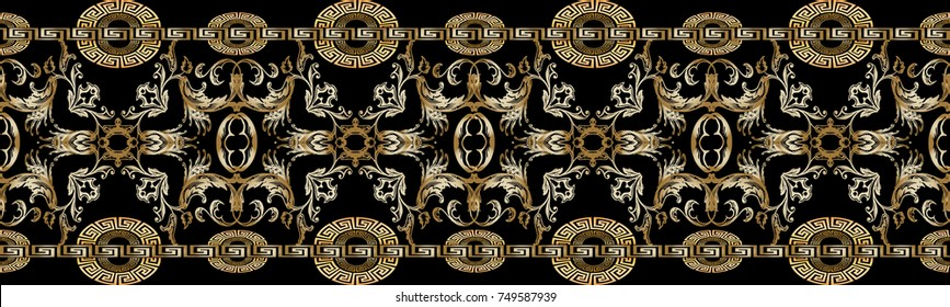Baroque seamless border pattern. Black vector damask background wallpaper with vintage gold 3d flowers, scroll leaves, circle meanders and greek key ornaments. Ornate beautiful texture. Luxury design
