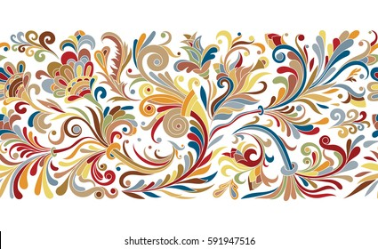 Baroque seamless border with vintage floral ornament. Vector illustration, flower pattern. Pastel brown red blue colors
