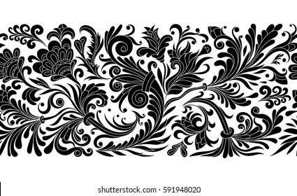 Baroque seamless border with vintage floral ornament. Vector illustration, flower pattern. One color print