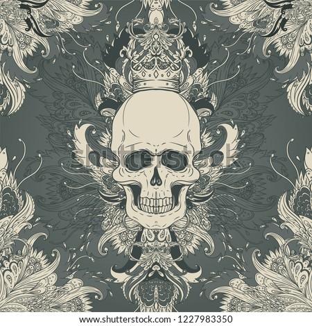 Damask style pattern with skull. Vintage ornate vector design for wallpaper