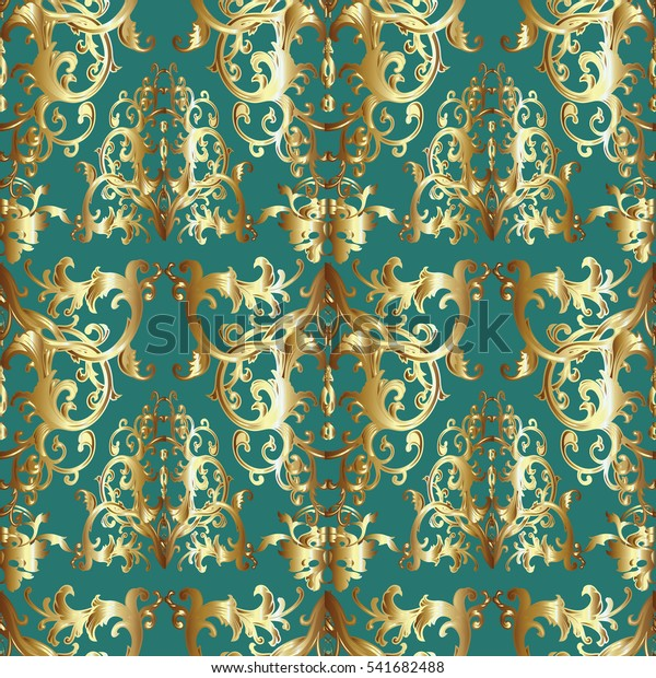 Baroque Seamless Pattern Antique Damask Wallpaper Stock Vector