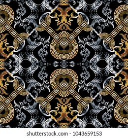 Baroque seamless pattern. Black vector damask background wallpaper with vintage gold silver flowers, scroll leaves, meanders and greek key ornaments. Ornate beautiful texture. Luxury modern design