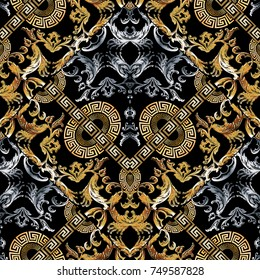 Baroque seamless pattern. Black vector damask background wallpaper with vintage gold silver 3d flowers, scroll leaves, circle meanders and greek key ornaments. Ornate beautiful texture. Luxury design