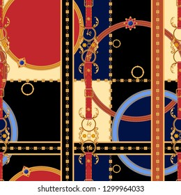 Baroque seamless pattern with chains and gems. Vector patch for print, fabric, scarf.