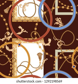 Baroque seamless pattern with chains and ropes. Vector patch for print, fabric, scarf.