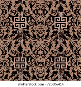 Baroque seamless pattern. Damask background wallpaper illustration with geometric elements, meander, greek key, shapes, figures, scroll leaves and flowers. Modern  abstract decorative baroque texture.
