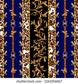 Baroque seamless pattern with golden belts, leaves and chains. Striped patch for scarfs, print, fabric.