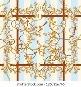 Baroque seamless pattern with golden chains, leaves and belts. Striped patch for scarfs, print, fabric.