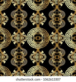 Baroque seamless pattern. Greek vector background.  Vintage gold 3d flowers, scroll leaves, meander, circles, greek key ornaments. Ornate beautiful texture. Luxury modern design for wallpapers, fabric