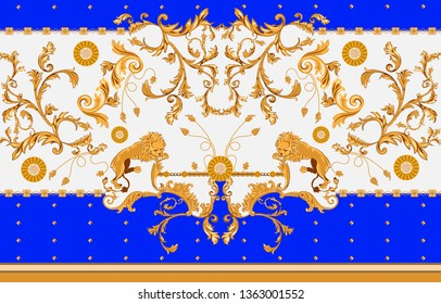 Baroque seamless pattern with lions, leaves and chains. Vector patch for print, fabric, scarf.