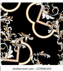 Baroque seamless pattern with moldings. Vector patch for print, fabric, scarf.