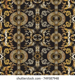Baroque seamless pattern. Vector damask background. Baroque wallpaper design. Vintage gold silver 3d flowers, scroll leaves, vertical circle meanders and greek key ornaments. Ornate beautiful texture