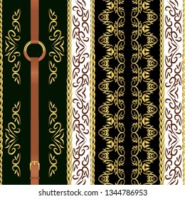 Baroque seamless repeat pattern with golden chain belts and floral vintage shape. Striped patch, great for scarfs, textile, print, fabric.