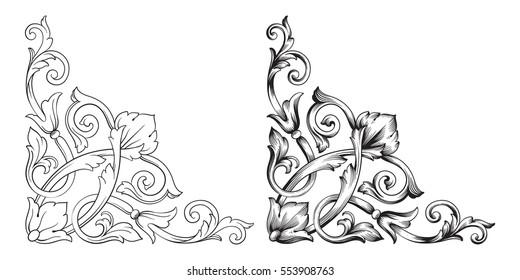Baroque set of vintage elements for design. Decorative design element filigree calligraphy.
