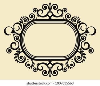 baroque silhouette, frame ornamental design, decorative vector baroque frame