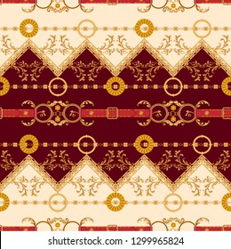 Baroque striped pattern with golden chains and belts. Seamless patch for scarfs, print, fabric.