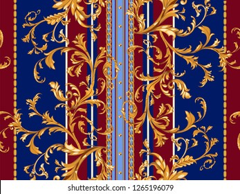 Baroque striped seamless pattern with golden leaves and chains. Striped patch for scarfs, print, fabric.
