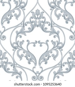 Baroque texture pattern Vector. Luxury wallpaper ornament decor. Textile, fabric, tiles. Gray colors