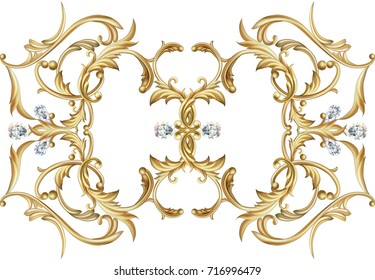 Baroque vignette with white crystals