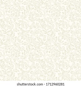 Baroque wallpaper. Seamless vector background ornate art deco decorative leaves. Damascus