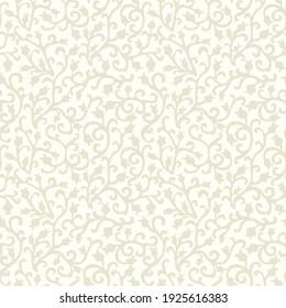 Baroque wallpaper. Seamless vector background ornate art deco decorative leaves. Damascus