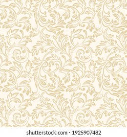 Baroque wallpaper. Seamless vector background of ornate decorative leaves in art deco style. Damask style. Floral royal pattern