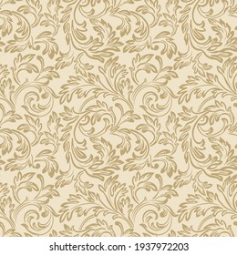 Baroque wallpaper. Seamless vector background of ornate decorative gold leaves in art deco style. Damascus