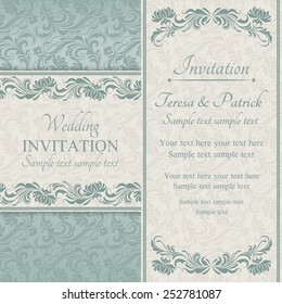 Baroque wedding invitation card in old-fashioned style, blue and beige