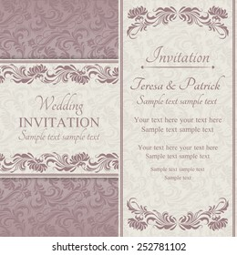 Baroque wedding invitation card in old-fashioned style, pink and beige