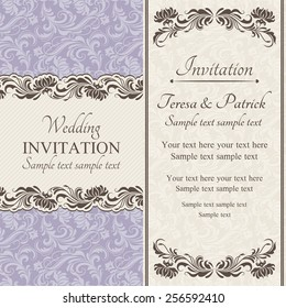 Baroque wedding invitation card in old-fashioned style, brown, beige and purple