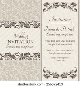 Baroque wedding invitation card in old-fashioned style, brown and beige