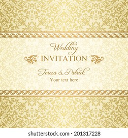 Baroque wedding invitation, gold on beige background
