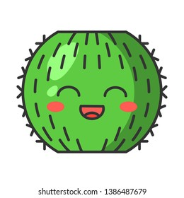 Barrel cactus cute kawaii vector character. Cactus with smiling face. Echinocactus wild cacti. Flushed tropical plant with smiling eyes. Funny emoji, emoticon. Isolated cartoon color illustration
