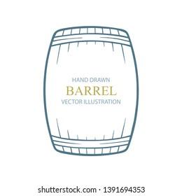 Barrel. Barrel hand drawn vector illustration. Wooden barrel side view. Part of set.