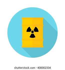 Barrel with hazardous chemicals. Ecology design concept with air, water and soil pollution. Flat icons isolated vector illustration.