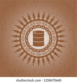 barrel icon inside badge with wooden background