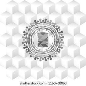 barrel icon inside realistic grey emblem with cube white background